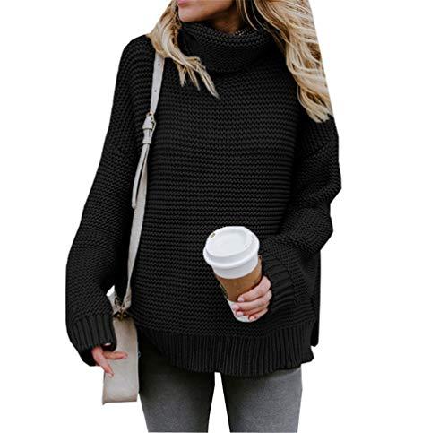 Maglioni Donna Autunno Inverno Collo Alto Top Manica Lunga Pullover - nero - M