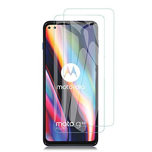 Aerku Cristal Templado Protector de Pantalla para Motorola Moto G 5G Plus[2 Piezas], 9H HD Alta Sensibilidad 2.5D[Sin Burbujas] [Resistente a Arañazos] Vidrio Templado Screen Protector [Transparente]