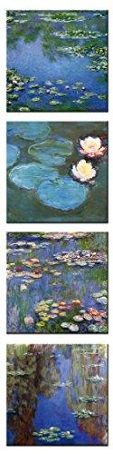 time4art Claude Monet Print Canvas 4 Bild 4 x 40x40cm Wasserlilien Leinwand auf Keilrahmen