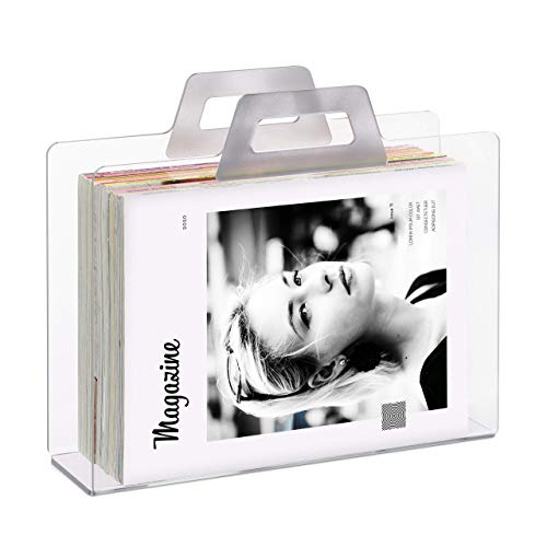 Relaxdays Revistero Original, 2 Asas, Soporte Revisas y Periódicos, Transparente, Acrílico, 1 Ud, 29x33x10 cm, Plateado, 29 x 33 x 10 cm