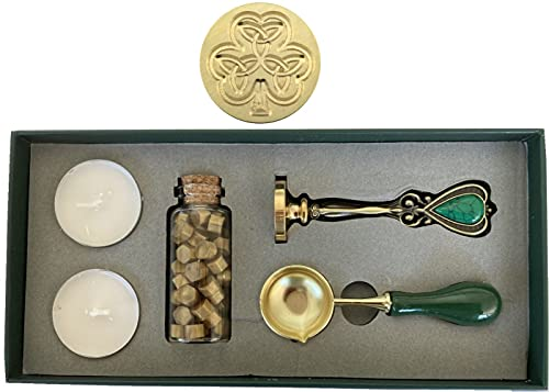 Shamrock Trinity Celtic Wax Seal Stamp Set: Seal Stamp, Melting Spoon, Beads - Beautiful Design!