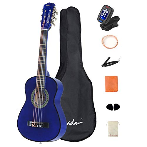 ADM Beginner Acoustic Classical Guitar 30 Inch Nylon Strings Wooden Guitar Bundle Kit with Carrying Bag & Accessories, Blue