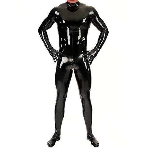 Sexy Latex Enger Reißverschluss von Herren-Jumpsuit-Gummi-Kleidung mit Schritt-Reißverschluss,TL