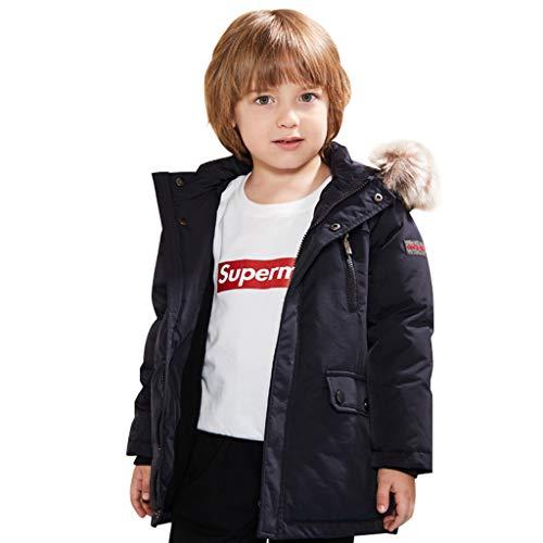 Donsjas voor kinderen, winter, gewatteerde mantels, winddichte donsjas, doorgestikt jas, sneeuwpak met capuchon 5-6 Jaren 3, zwart