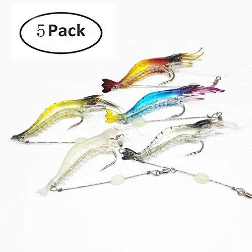 Simuer Luminous Weich Garnelen baite, 5 Pack Kunstköder Silikon Shrimp Lure with Hook Kit Angeln Köder mit Haken Süß-/Salzwasser Forelle Bass lachs