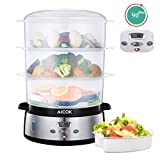 AICOK Food Steamer Electric 800W with LCD Display 90 Minutes Timer 9L Capacity 3 Tiers BPA Free Stackable Baskets & Power Stainless Steel Base including Rice Bowl Steamers for Healthy Cooking
