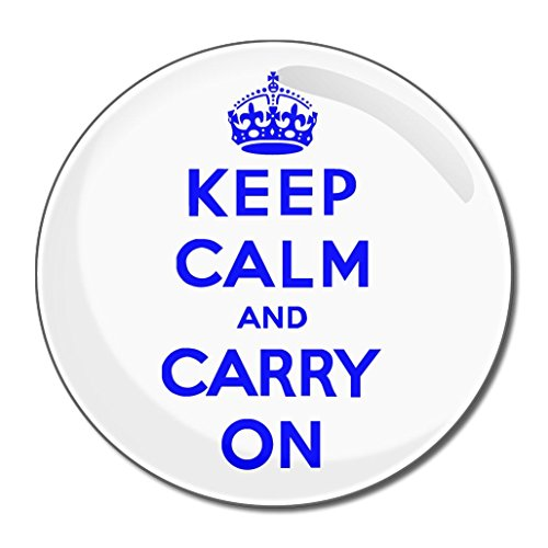 White Blue Keep Calm & Carry On - Miroir compact rond de 77 mm