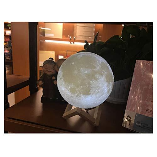 Wandleuchte.LQ Luz de Luna Impresión en 3D Luz de Luna y Marco de Madera Luz de Luna Recargable Luz de Noche Color LED Control Remoto táctil