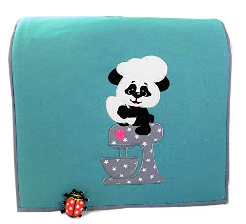 Abdeckhaube für Kitchenaid, 4,8 ltr. Artisan. Panda, Mint, Applikation, Stickerei, Baumwolle, Henkel,