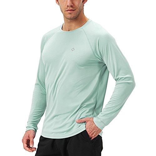 Naviskin Men's Sun Protection UPF 50+ UV Outdoor Long Sleeve T-Shirt Light Green Size L