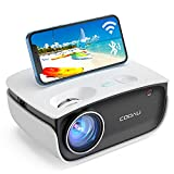 Portable Projector with WiFi and Bluetooth, COOAU A1 Supported hd 1080P Outdoor Movie Projector, Ceiling Mini Home Projector Compatible Fire Stick, Game, DVD, iPhone, Android use Screen