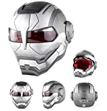 Motorcycle Helmets/Helmet,Full Face Touring Motorbike Helmet Harley Helmet Vintage Helmet Iron Man Personality Cool Helmet,D.O.T Certified,Silver,M