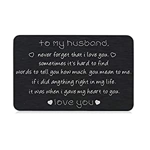 I Love You Gifts to Husband Engraved Wallet Card Insert for Valentines Day Christmas to Men Boyfriend Anniversary Birthday Wedding Father's Day Gift from Wife Girlfriend Groom Fiance Romantic gift