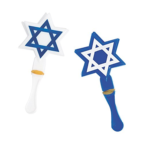 Fun Express - Star of David Shaped Hand Clappers for Hanukkah - Toys - Noisemakers - Hand Clappers - Hanukkah - 48 Pieces