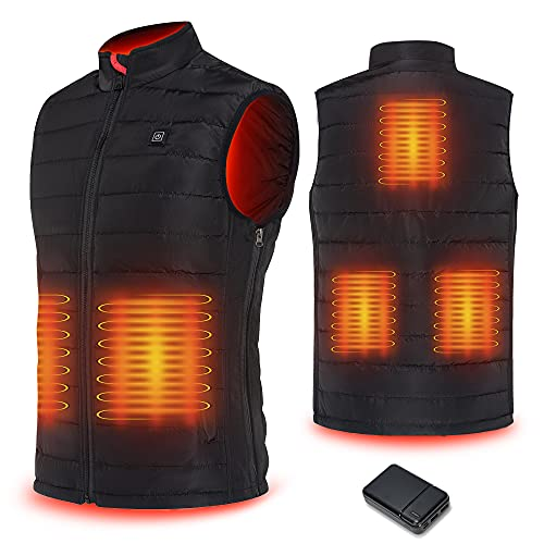 CPHST Heated Vest USB Charging Electric Body Warmer for Men&Women with Battery Pack (Black-men, Large, l)