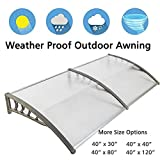 Nollapo Awning Windows 40inch 80inch 120inch Outside Window Awnings Polycarbonate Hollow Sheet Door Patio Canopy (40'' x 80'', Silver Canopy + Grey Bracket)