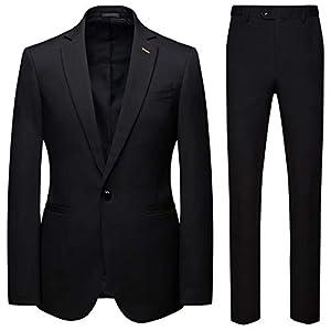メンズビジネススーツ2つのピーススーツスリムフィットウェディングスーツタキシードカジュアルブレザーワンボタンブレザータキシードジャケットパンツ,黒,M