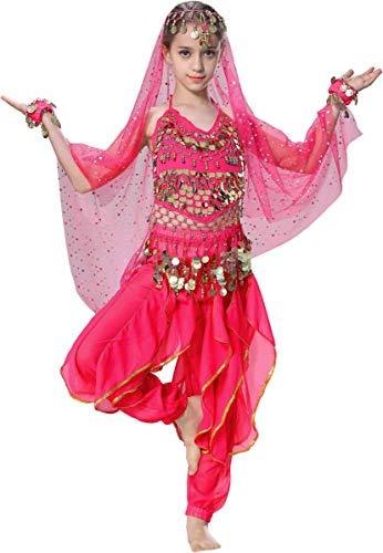 Seawhisper Halloween Costumes Girls Kids 5 6 Hot Pink Toddler Belly Dancing Costume Jasmine Costume
