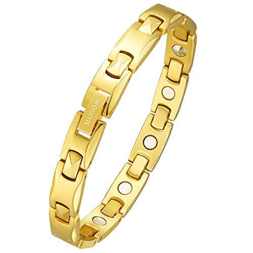 MUGOM 磁気 ブレスレット ゲルマニウム 純チタン製 金属アレルギーフリー ゴールド