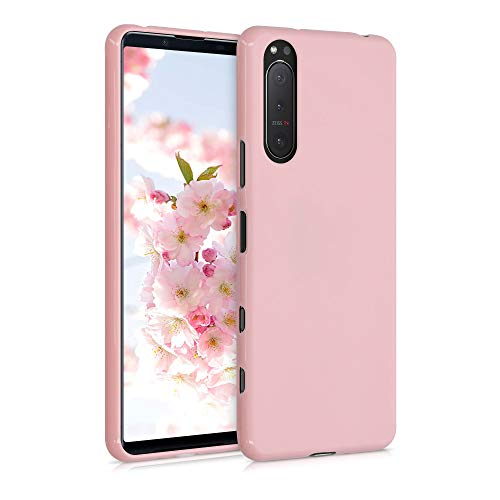 kwmobile TPU Silicone Case Compatible with Sony Xperia 5 II - Soft Flexible Protective Phone Cover - Rose Gold Matte