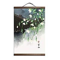 カスタム中国風緑の植物キャンバス装飾画店の寝室のリビングルームの壁の芸術無垢材のスクロール絵画-50x75cm_P029-4