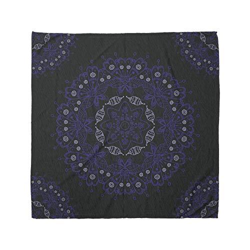 Ambesonne Unisex Bandana, Dark Blue Authentic Mandala, Blue Coconut