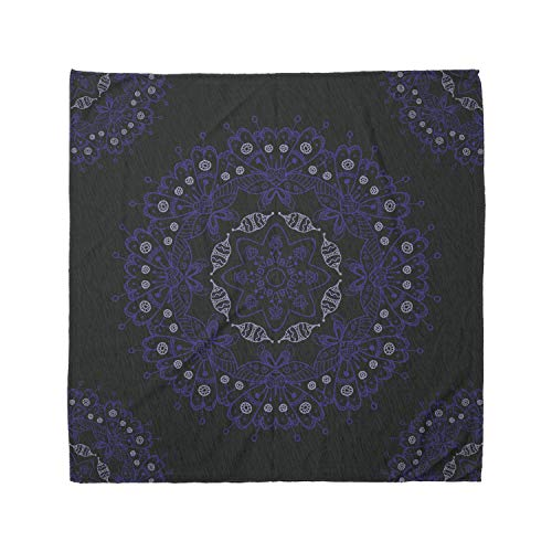 Ambesonne Unisex Bandana, Dark Blue Authentic Mandala, Blue Coconut
