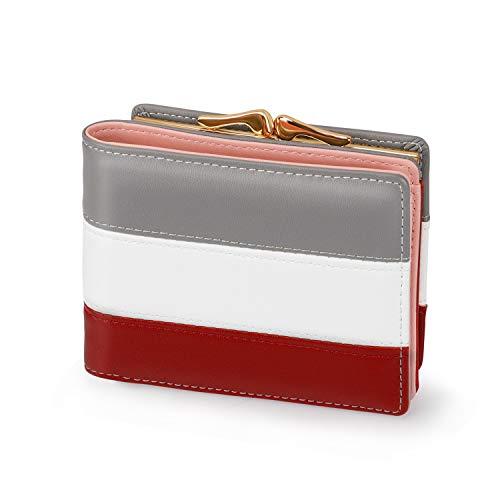 Damen Portemonnaie Kunstleder klein Geldbeutel mit Münzfach Mini Geldbörse für Frauen