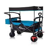SAMAX Carro Plegable con Techo extraíble Carrito de Jardín de Mano - Carreta con Freno y Bolsa de Cola - para Jardín y Aire Libre Playa de Carro de Transporte Offroad - Negro/Azul