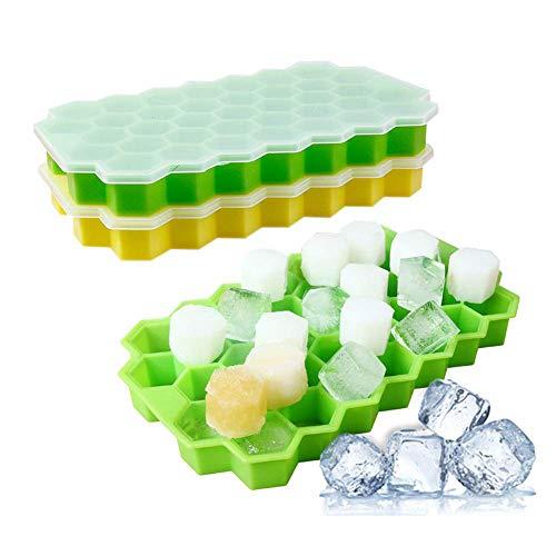 AIWEIYER Eiswürfelschale,74 Stück,Silikon,BPA-frei,Eiswürfelform mit Deckel,leicht zu entfernen,für Gefriertruhe,Babynahrung,Wein,Whisky,Cocktail,2 Stück (1* grün +1 *gelb)