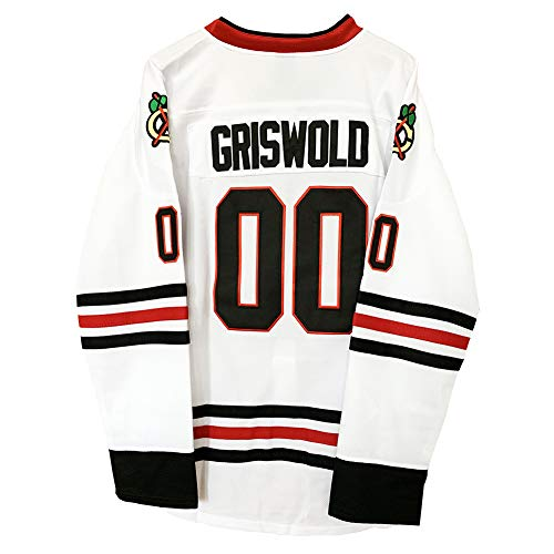 USA Clark Griswold #00 Christmas Vacation Movie Hockey Jersey Stitched Mens S-XXXL (M, WHITE)