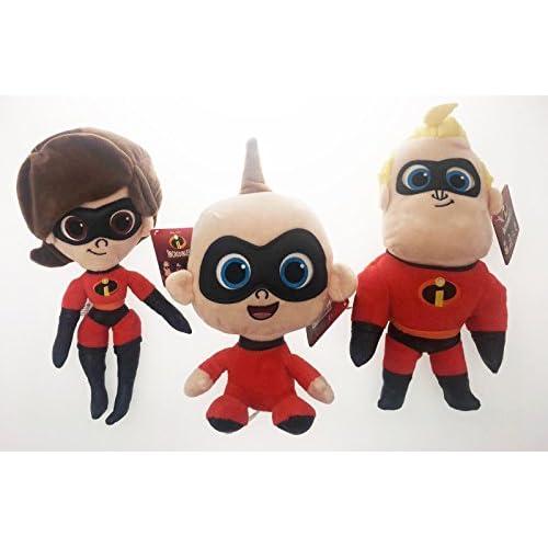 3 peluche originali Gli Incredibili 2 - Elastigirl Mr Incredibile e Jack-Jack altezza 30 cm Disney Pixar