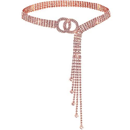Lamdgbway Cinturones de cristal para mujeres vestido Rhinestone cintura cinturón O-Ring cadena regalo para amigos cumpleaños, Cristal oro rosa., M (120 cm)