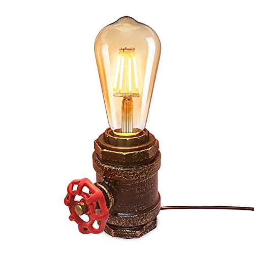 BarcelonaLED Lámpara de Mesa Vintage Estilo Tubería de Laton Dorado Retro Industrial Válvula Decorativa para Casquillo E27 Mesita de Noche Salón