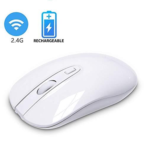 cimetech Wiederaufladbare kabellose Maus, 2.4G Funkmaus Schnurlos Wireless Kabellos Schlank Optische Maus mit USB Nano Empfänger für PC/Tablet/Laptop und Windows/Mac/Linux (Charge Silber)