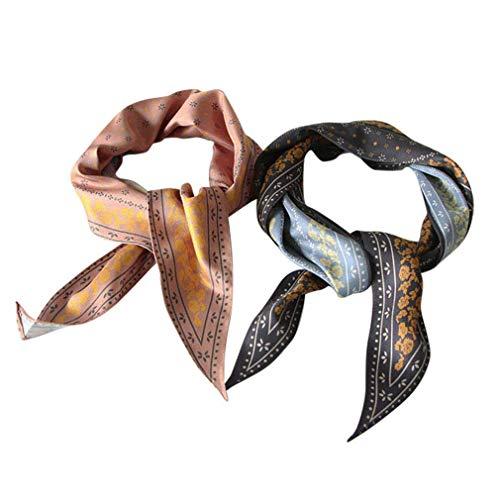GERINLY Vintage Skinny Neck Scarves Floral Print Long Hairband Stylish Accessory for Handbag Hawaii Pony Scarf (Khaki Pink/Grey Black)