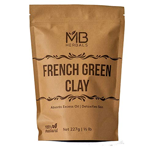 MB Herbals French Green Clay 1 lb | 16 oz One Pound Large Economy Pack | 100% Pure Montmorillonite Clay | Absorbs Excess Oil | Detoxifies Skin | Highly Recommended For Oily Skin