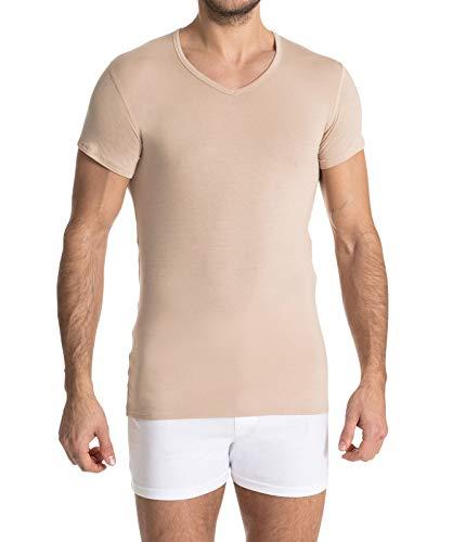 FINN Business Herren Unterhemd Kurzarm mit V-Ausschnitt Micro-Faser Unterziehshirt Hemd Männer Unsichtbare Hautfarbe XL