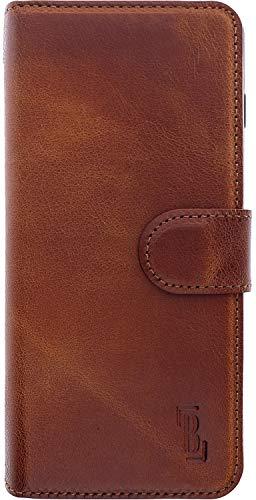 Burkley Handyhülle für Samsung Galaxy S20 FE Leder-Hülle kompatibel mit Galaxy S20FE Handytasche - TÜV geprüfter RFID/NFC Schutz - Kartenfach (Antik Sattelbraun)