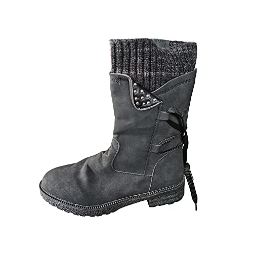 Women's Winter Snow Boots Flat Bottomed Leather Bandage Boots Cowgirl Waterproof Winter Mid Calf Boot Black