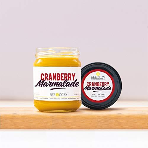Meden BeeCozy – Cranberry Marmelade – handgefertigte Bienenwachs-Duftkerze – Cranberry Marmelade, glas, M