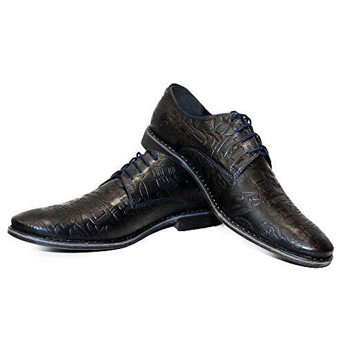 Modello Vobello - EU 41 - US 8 - UK 7-26 cm - Cuero Italiano Hecho A Mano Hombre Piel Color Negro Zapatos Vestir Oxfords - Cuero Cuero Repujado - Encaje