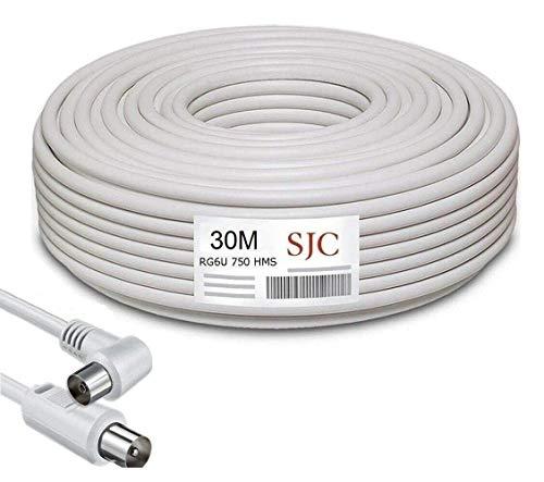 Cable de Antena Coaxial para TV TDT Sat Rollo 30m Metros RG6U HDTV