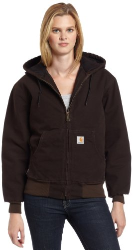 Carhartt Women's Quilted Flannel Lined Sandstone Active Jacket WJ130,Dark Brown,Medium