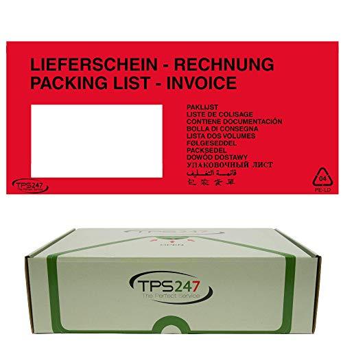 50x TPS247 Lieferscheintaschen - Dokumenttaschen DIN Lang rot selbstklebend (50)
