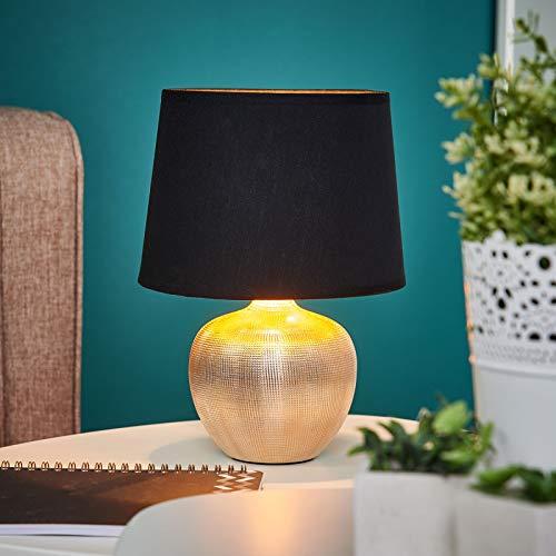 Lindby Tischlampe 'Thorina' (Modern) in Schwarz aus Textil u.a. für Wohnzimmer & Esszimmer (1 flammig, E14, A++) - Tischleuchte, Schreibtischlampe, Nachttischlampe, Wohnzimmerlampe