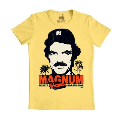 80s Magnum P.I. Slim Fit Yellow T-shirt for Men, XS to M