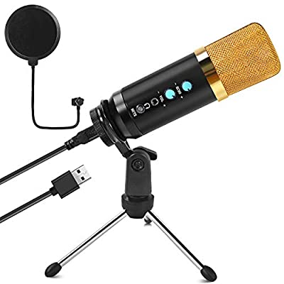 Beedove PC Microphone, USB Condenser Microphone, Professional Recording Plug and Play One Key Mute with Stand & Pop Filter for Computer Laptop PS4, for Singing Podcasting Streaming Gaming Youtube