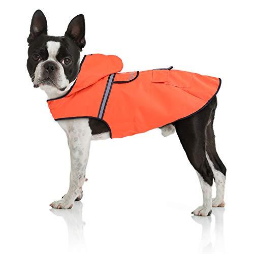 Bella & Balu Hunderegenmantel – Wasserdichter Hundemantel mit Kapuze und Reflektoren für trockene, sichere Gassigänge, den Hundespielplatz und den Urlaub mit Hund (S   Orange)