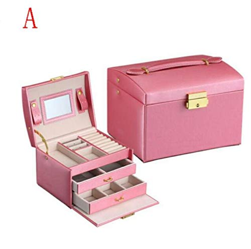 Yamybox Large Jewelry Packaging and Display Box PU Leather Multi-Layer Jewelry Box Necklace Makeup Box high-end Jewelry Box Manager Dressing Table Organizer,A-red